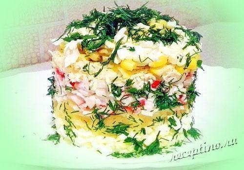 салат с ананасами и крабовыми палочками рецепт фото