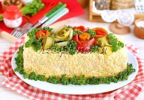 Пошаговый рецепт с фото закусочный торт с